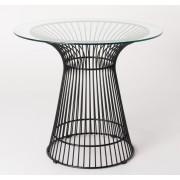 Replica Warren Platner - Wire Dining Table - Black Powdercoated - Glass Top - 80cm, 90cm