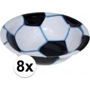 8x Voetbal bakje van plastic