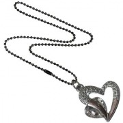 Men Style Love Heart Romanatic White Crystal Silver Cubic Zirconia Heart Pendent