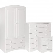 Scandi White Bedroom Furniture Set - Bedside, 2+4 Chest & 2 Door 2 Drawer Combi Wardrobe