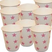 Papír pohár 10 db/cs - rózsaszín csillagos