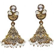 Lucky Jewellery Golden Partywear Stone Jhumki Earring