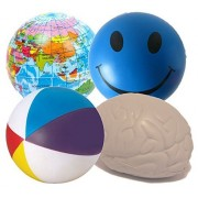 StressCHECK Stress Balls X 4 Mixed by - Sensory Toys Blue Smiley, Atlas, Beach & Brain Squeezy Balls– Ball Relief ADHD for Autism