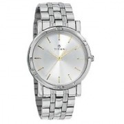 Titan Quartz Silver Round Men Watch 1639SM01