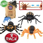 Spider Toy,5 inch Realistic Black Rubber Spiders Toys Set(8 Pack),Food Grade Material TPR Super Stretchy,Zoo World...