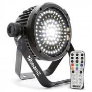 Beamz BS98 Foco LED Estroboscopio 98xLEDs SMD DMX blanco Mando a distancia por infrarrojos (153.285)