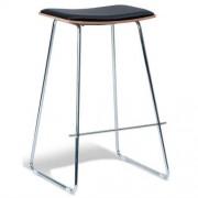 Set of 2 - Yvonne Potter Replica Y Porter Nordberg Bar Stool 73m - Chrome Frame - Natural Veneer - Black Cushion Seat