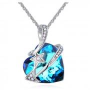 Colier argint cu elemente SW Heart Star Crystal Blue