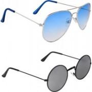 Zyaden Aviator, Round Sunglasses(Blue, Silver)