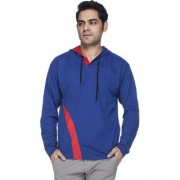 Demokrazy men's Royal with red patch hooded T-shirt
