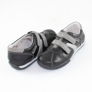 Pantofi piele naturala copii - negru, gri, Marelbo - C02 -NegruGri