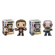 Funko POP! Movies Guardians of the Galaxy Vol. 2: Star Lord and Drax Toy Bobblehead Action Figures - 2 Pack BUNDLE