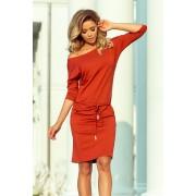 numoco Dámské šaty 13-84 červeno-oranžová M