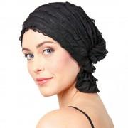 Chemo Beanies® - Headwear Covers for Hair Loss Angelle (Black Ruffle)