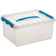 Sunware 5x Opberg box/opbergdoos 15 liter 40 cm transparant/blauw