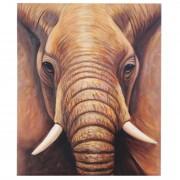 Ölgemälde Nahaufnahme Elefant, 100% handgemaltes Wandbild Gemälde XL, 120x100cm ~ Variantenangebot