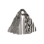 【60%OFF】カシミヤ シルク混 レオパード柄 切替 ストール ブラックミックス ファッション > ファッション小物~~スカーフ