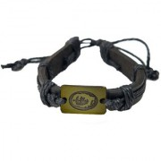 Men Style New Design Bracelet with Cotton Dori Black and Brown Leather Round Bracelet For Men and Boys