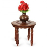 Onlineshoppee Wooden Handcarved Work Round Shaped Side Table Size-14x14x12 Inch