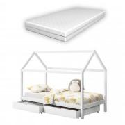 [en.casa]® Kiságy fenyőfa gyermekágy tároló fiókkal és matraccal 200 x 90 cm sátortetős kialakítás matt fehér