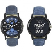 R P S fashion new letest blue black model for combo pack of 2 men watch