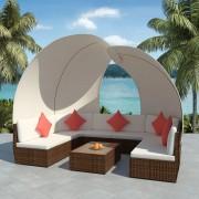 vidaXL Set mobilier exterior, 34 piese cu baldachin, poliratan, maro