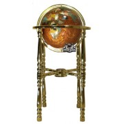 Unique Art 36-Inch Tall Amberlite Pearl Swirl Ocean Floor standing Gemstone World Globe with 4 Leg Gold Stand by Unique Art Since 1996