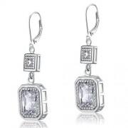 4 karátos ezüst fülbevaló kerek hasáb alakú szintetikus gyémánt kristállyal - 925 ezüst ékszer