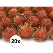 Geen Pluche pompoms oranje 20 mm