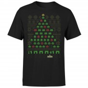 Geek Christmas Invaders From Space T-Shirt - Black - XL - Black