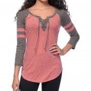 Camiseta De Color Mezclado Con Correa Por Cuello Para Mujer - Rosa