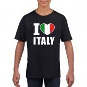 Shoppartners Zwart I love Italie fan shirt kinderen