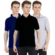 FUEGO Fashion Wear Combo Of Polo T-shirt For Men- Pack Of 3 FG-3CM-POLO-BLK-DB-GY