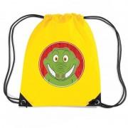 Bellatio Decorations Krokodil dieren trekkoord rugzak / gymtas geel voor kinderen