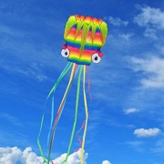 Rainbow 3D Parafoil Octopus Kite - alloFun FZ-ZYFZ(2017 New Design) Giant Fun Beach Stunt Power Nylon Kids Outdoor Toys and Games with Reel and String Durable 18 Months 2000+ Instagram Likes