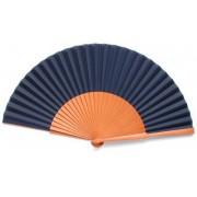 Navy Blue Fabric & Wooden Fan