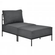 [en.casa]® Elegáns fotel - lábtartóval - rekamié / heverő - szövet (75x70x140cm) - sötétszürke