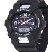 S Shock Round Dial Black Silicone Strap Quartz Watch for Men 6 month warranty