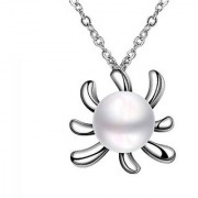 Om Jewells Imitation Jewellery Rhodium Plated Flamboyant High Grade Artificial Pearl Pendant Necklace for Women PD10008