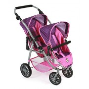Bayer Chic 2000Â 689Â 40/Tandem Buggy Vario, Twin Doll Stroller, for Dolls Up to Approx. 50Â Cm Purple Pink