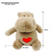 Mr. Bear & His Friends Kawaii Soft Toy Stuffed Animals Hippos Plush Hippopotamus Riverhorse Dolls Huggable Heart Hippo Toys for Children Gifts - Brown