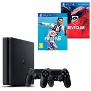 Конзола PlayStation 4 Slim 500GB Black, Sony PS4+Игра FIFA 19 за PlayStation 4+Игра Driveclub PS4+Геймпад - Sony PlayStation DualShock 4 Wireless, V2