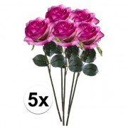 Bellatio flowers & plants 5x Paars/roze rozen Simone kunstbloemen 45 cm