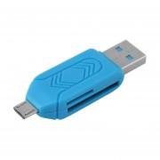ABS Negro Fiable Micro USB OTG TF T-flash Lector De Tarjetas Para Teléfono Celular PC Azul