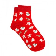 Soxytoes Ginger Bread CookiesRed Cotton Ankle Length Pack of 1 Pair Unisex Casual Socks (STS0174)