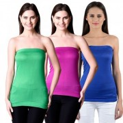 NumBrave Womens Green Purple Blue Tube Top (Combo of 3)
