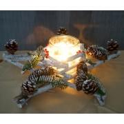 Adventskranz Stern, Weihnachtsdeko Tischdeko, Holz mit Kerzenglas 40x40x12cm ~ Variantenangebot