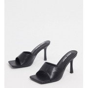 Public Desire Wide Fit Harlow mule with square toe in black - female - Black - Size: 7