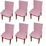 Set 6 huse elastice bicolore/gofrate cu bumbac fara volan pentru scaun TRADE STORE DELIVERY Bumbac si Poliester Roz