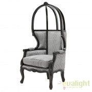 Fotoliu baldachin elegant, design clasic Wellington negru cu alb 109426 HZ